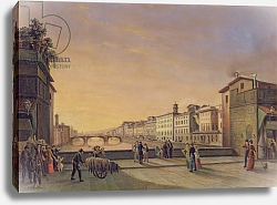 Постер Герарди Джузеппе View of the Arno from the Ponte Vecchio, Florence