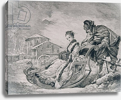 Постер Буше Франсуа (Francois Boucher) Winter Amusement, from the 'Gazette des Beaux-Arts', engraved by E. Champollion