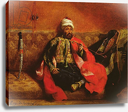 Постер Делакруа Эжен (Eugene Delacroix) A Turk smoking sitting on a sofa, c.1825