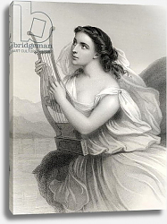 Постер Стаал Пьер (грав) Sappho,illustration from 'World Noted Women' by Mary Cowden Clarke, 1858
