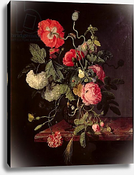 Постер Уолскеппел Якоб Flowers in a Glass Vase, 1667