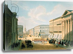 Постер Арнаут Луи (акв) The Police Bridge and Nevsky avenue in St. Petersburg, printed by Lemercier, Paris, 1840s