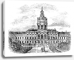 Постер Charlottenburg Royal Palace, in Berlin, Germany, during the 1890s, vintage engraving.