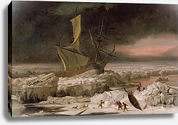 Постер Хондиус Абрахам Arctic Adventure, or A Ship in Distress off Greenland, c.1677