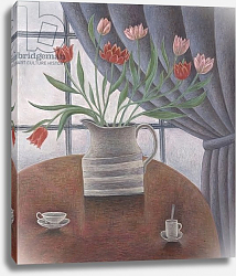 Постер Эдиналл Рут (совр) Tulips, Curtain, Cups, 2002