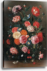 Постер Кессель Ян Roses, carnations, morning glory, a poppy and a sprig of cherries in a glass vase, a wall brown, an orange tip, a Red Admiral and a magpie butterfly on a table, 1676