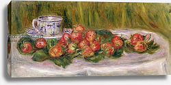 Постер Ренуар Пьер (Pierre-Auguste Renoir) Still Life of Strawberries and a Tea-cup, c.1905