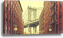Постер США, Нью-Йорк. Retro stylized Manhattan Bridge seen from Dumbo