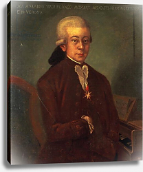 Постер Школа: Австрийская 18в. Portrait of Wolfgang Amadeus Mozart wearing the Order of the Golden Spur, 1777