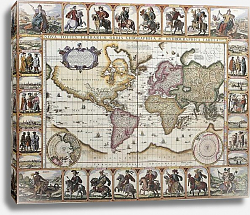 Постер World old map. Created by Nicholas Visscher, published in Amsterdam, 1652