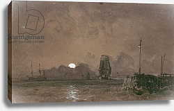 Постер Чамберс Джордж Sunderland Harbour: Moonlight, 19th century