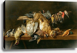Постер Утрехт Адриан Still life of dead birds and a hare on a table, 1647