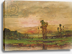 Постер Мункачи Михай Evening Landscape with a Herd of Cattle near Jouy-en-Josas, 1881