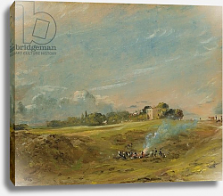 Постер Констебль Джон (John Constable) A View of Hampstead Heath, with figures round a bonfire