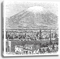 Постер Arequipa and the Misti volcano old engraving, in 1890.