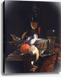 Постер Кальф Уильям Still Life with Chinese Sugar Jar, Glass Goblet and Fruit
