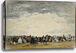 Постер Буден Эжен (Eugene Boudin) Vacationers on the Beach at Trouville, 1864