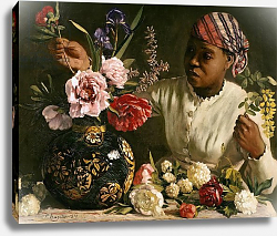 Постер Базиль Жан Negress with Peonies, 1870