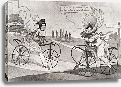 Постер Two 19th century English ladies on bicycles, published 1909.