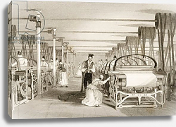 Постер Аллом Томас (грав) Weaving on Power Looms, Cotton factory floor, engraved by James Tingle c.1830