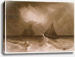Постер Тернер Уильям (William Turner) R.808b Ship and Cutter, from the 'Little Liber', engraved by the artist, c.1826