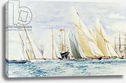 Постер Дикстон Чарльз Twenty Seconds to Go: 'White Heather','Cambria', 'Alstra','Westward','Britannia','Lulworth' and 'Shamrock', yachts at Cowes,
