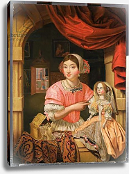 Постер Кольер Эварт Girl holding a doll in an interior with a maid sweeping behind