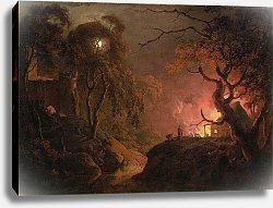 Постер Райт Джозеф A Cottage on Fire at Night, c.1785-93