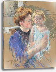 Постер Кассат Мэри (Cassatt Mary) Mother in Purple Holding her Child, c.1914