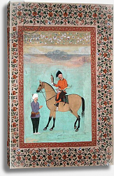 Постер Школа: Индийская 17в. Ms E-14 Shah Abbas on a horse holding a falcon, c.1620