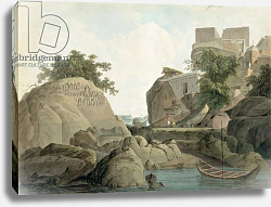 Постер Даниель Томас (грав) Fakir's Rock at Sultanganj, on the River Ganges, India, c.1790