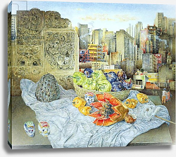 Постер Рив Джеймс (совр) Still Life with Papaya and Cityscape, 2000