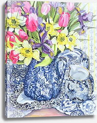 Постер Фивси Джоан (совр) Daffodils, Tulips and Irises with Blue Antique Pots