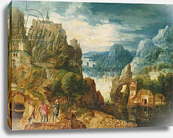 Постер Валкенборх Лукас Mountainous Landscape with the Road to Emmaus, 1597