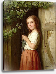 Постер Бремен Мейер Young Girl Standing in a Doorway Knitting, 1863