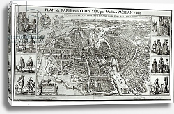 Постер Мериан Мэтьюс Bird's Eye Plan of Paris, 1615
