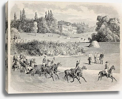 Постер Carriage in the park of Vilgenis with the castle in background. Original, from drawing of Blanchard,