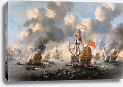Постер Велде Виллем Старший The Dutch burn down the English fleet before Chatham