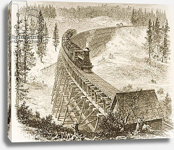 Постер Школа: Английская 19в. Trestle Bridge on the Pacific Railway, Sierra Nevada, c.1870, from 'American Pictures', 1876
