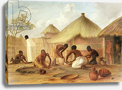 Постер Бэйнс Томас Manufacture of Sugar at Katipo - Making the panellas or pots to contain it, 1859