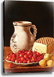 Постер Мелендес Луис Still Life with cherries, cheese and greengages