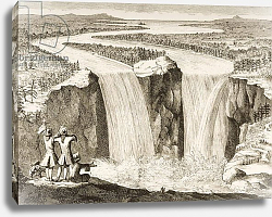 Постер Школа: Английская 19в. Niagara Falls, after a sketch made by Father Hennepin in 1677, from 'American Pictures', 1876