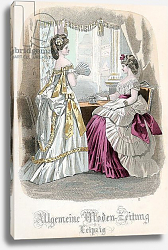 Постер Школа: Французская 19в. Two Ladies, fashion plate from the 'Allgemeine Moden-Zeitung', Leipzig, 1872