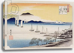 Постер Утагава Хирошиге (яп) Returning Sails at Yabase, from the series, '8 views of Omi', c.1834