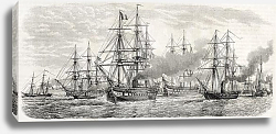 Постер French fleet in China leaving Tche-fou towards Pe-thang. Created by Lebreton, published on L'Illustr