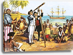 Постер Салинас Альберто Captain Cook making astronomical observations at Tahiti