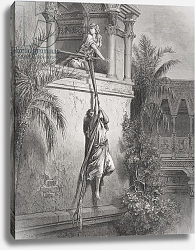 Постер Доре Гюстав The Escape of David through the Window, illustration from Dore's 'The Holy Bible', 1866