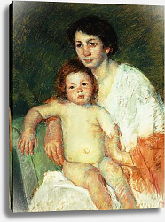 Постер Кассат Мэри (Cassatt Mary) Nude Baby on Mother's Lap Resting Her Right Arm on the Back of the Chair, 1913
