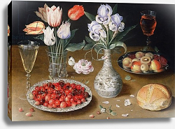 Постер Бирт Осис Still life with Lilies, Roses, Tulips, Cherries and Wild Strawberries