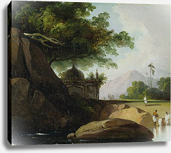 Постер Чиннери Джордж Indian Landscape with Temple, c.1815